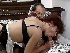 Mature maid seduces master in bed