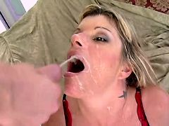 Cute blonde milf fucks w two guys and gets facials