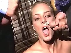 Skilful gal pleases two dudes to get double facial