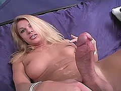 Yummy blonde ts gets hot cum jet on her sexy belly