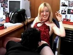 Lustful secretary relaxes with two men in office