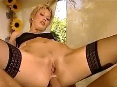 Blond chick gets assfucked outdoors