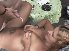 Chubby mature fucks from behind n gets cum on tits