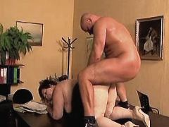 Aged mature sucks cock n gets anal fuck in office