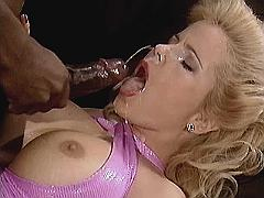 Blonde milf gets facial from black dick after fuck