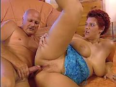 Busty redhair milf fucks w aged man in all poses