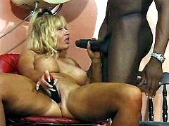 Lewd busty mom blows hot beautician