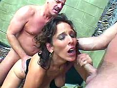 Lewd mom entertains two horny guys