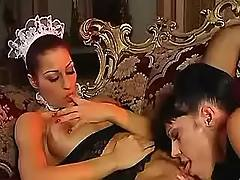 Lady licks pussy of maid