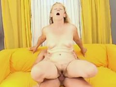 Depraved granny jumps on hard dick of horny guy