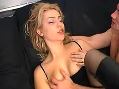 Beautiful blonde in black stockings fucking on bed
