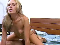 Mature blonde gets fucked on bed