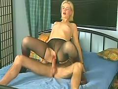 Slut in panty-hose nailed
