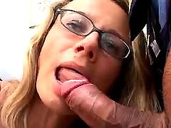 Secretary sucks fat cock