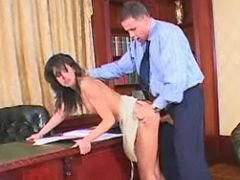 Boss drilling beautiful office girl