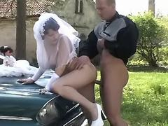 Beautiful fiancee fucks with driver on green grass