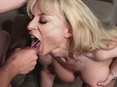 Cute blonde milf fucks from behind and gets facial