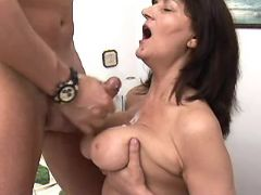Depraved mature gets cumload on boobs in bedroom